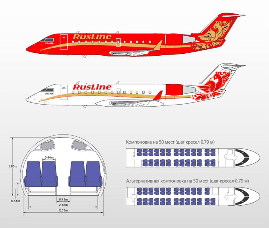 Схема салона самолета Bombardier CRJ-100/200 ER/LR РусЛайн (RusLine)