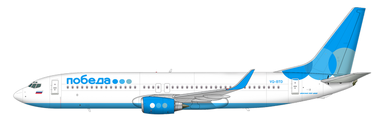 Как выглядят самолеты Боинг 737-800 авиакомпании «Победа»