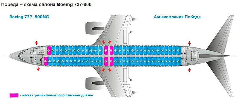 Схема салона самолета «Победа» Boeing 737-800